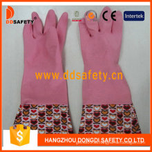 Guantes domésticos de látex de látex de color rosa para el hogar (DHL718)