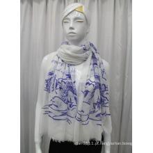 Senhora paisagem impresso lenço de algodão voile moda (yky1081)