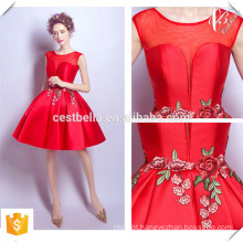 Shinny Tela V Neckline Chic Short Champagne e Red Christmas Party Dresses 2016 Made in China