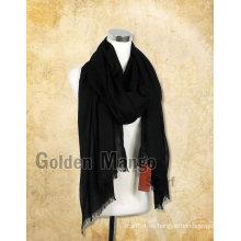 Bufanda de lana de color negro de moda de la mujer