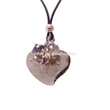 Sundysh Bling collar de cristal ahumado facetado largo hecho a mano del corazón de la mujer para la mujer