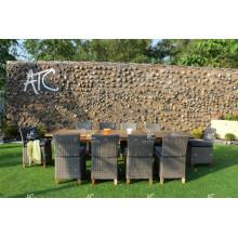 Ensemble de café et de restauration en polyéthylène en polyéthylène intemporel pour meubles en osier pour jardin extérieur