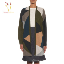 Intarsia Oversized Knit Cardigan Sweaters para mulheres
