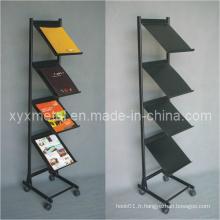 Étagère d'affichage de livre de magasin en métal mobile