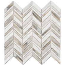 Mixed Color Chevron Kitchen Mosaic Tiles Stained Glass Mosaic For Wall