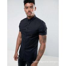 Slim Fit Poplin Shirt with Short Sleeves in Black