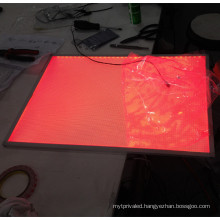 Edgelight AF29 wall mounted colorful led panel with led strips illuminating the art