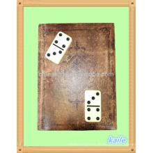 Doppeltes, 6-fach helles, schwarzes Domino-Set mit Leder-Bücherregal