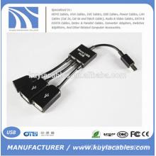 NOUVEAU Câble Adaptateur Dual Micro USB OTG Hub pour Samsung et Autre Téléphone Andriod