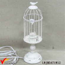 Vintage White Metal Iron Classic Table Lamp Cage Design