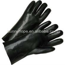 Schwarze PVC-beschichtete Handschuhe auf Lager