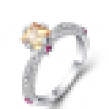Women 925 Sterling Silver Yellow Crystal Wedding Ring