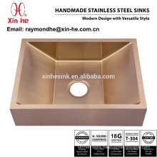 PVD Copper Brass Gold Plated Bathroom Vessel Sink, Commercial Handmade Stainless Steel Lavatory Sink for Hotel