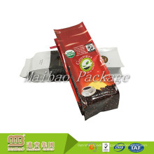 Flexible Packaging High Barrier Custom Printed Quad Sealing Side Gusset Plastic Coffee Bag With Tin Tie And Valve