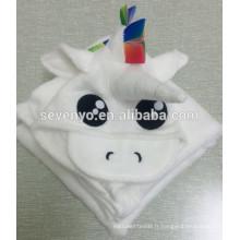 100% fibre de bambou mignonne mini licorne capuche serviette, ultra doux, super absorbant, X-Large 70 * 100 cm, pour enfants et bébé serviette de bain