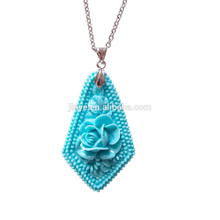 Simple Bohemian Long Steel Chain Turquoise Stone Flower Pendant Necklace