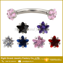 4MM Internally Star Cubic Zircon Threaded Stainless Steel Eyebrow rings