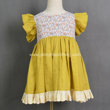 Boutique Floral Knitted Yellow Baby Girl Dress