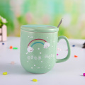 High Quality Ceramic Mug with Spoon and Lid
