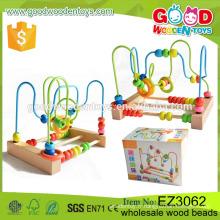 Perles éducatives pour enfants Jouets en bois Fournisseur OEM / ODM Motifs d'animaux et de fruits Impression de perles de bois pour bébé