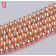 9-10mm Pink Real Natural Pearl Strand, Button Round