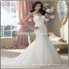 Alta qualidade Mermaid Lace Appliqued Princess Vestido de casamento nupcial Mermaid Backless