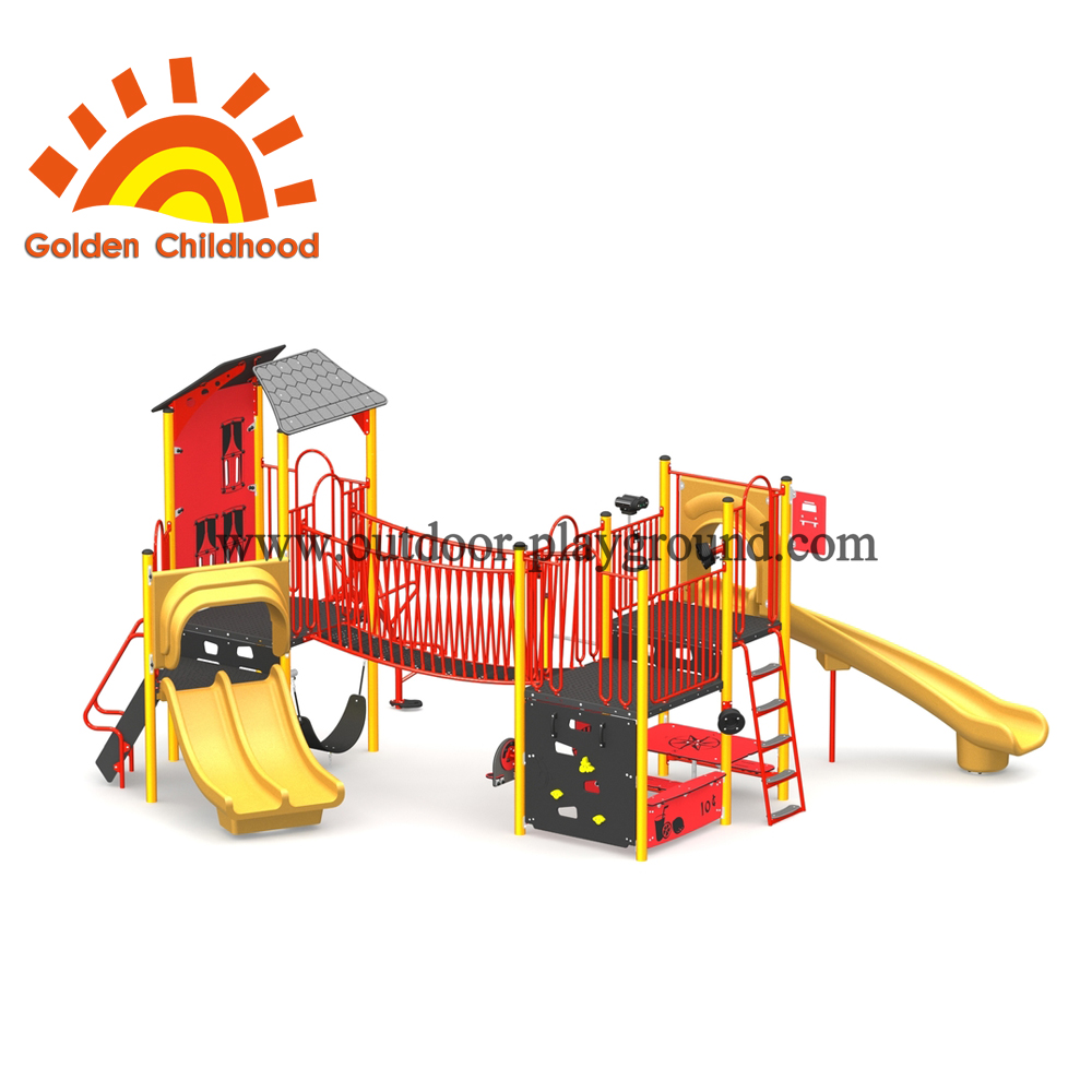 Red Play Tower Outdoor Playground Equipment For Sale