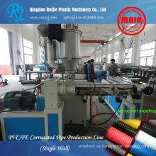 Línea de producción de PVC HDPE pared simple tubo ondulado