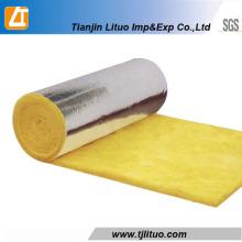 Rolos de lã de vidro de cor amarela com folha lateral de alumínio