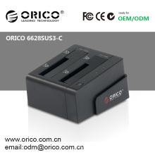 Gabinete HDD ORICO 6628SUS3-C 2bay 2.5 3.5 estação de ancoragem SATA HDD USB3.0 eSATA duplicador 2.5inch 3.5inch