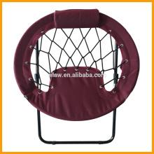 Cadeira de bungee redonda dobrável com almofada e bolso lateral