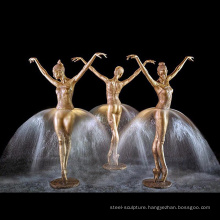 Life size bronze lady dancing with water feature fountain for public decoration