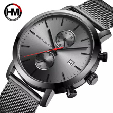 Hannah Martin 1092 Black Multifunction Chronograph Stainless Steel Mesh Band Men Big Dial Watch Wristwatches alibaba webshop