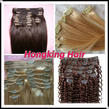 100% human hair brazilian hair clipin hair extensions with best quaity