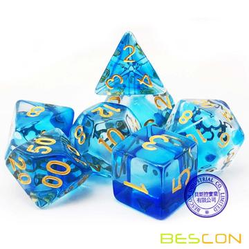Bescon Crystal Blue 7-pc Набор для игры в кости Poly, Bescon Polyhedral RPG Набор для игры в кости Crystal Blue