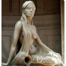 Mulher de fonte de bronze derramando a estátua de água