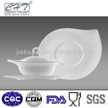 S shape white bone china soup bowl with lid