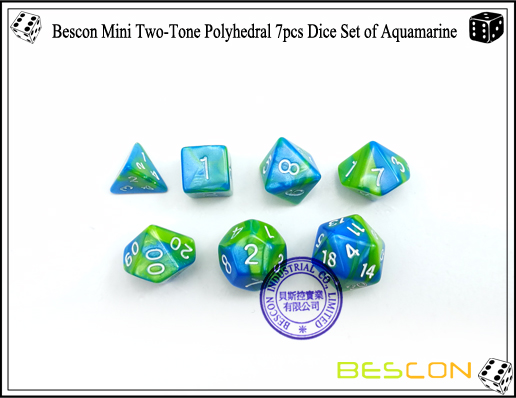 Bescon Mini Two-Tone Polyhedral 7pcs Dice Set of Aquamarine-4