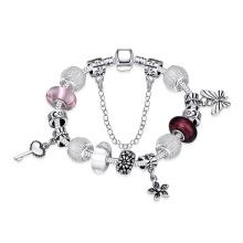 Popular Flower and Keys Pendant Women Bracelet