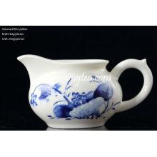 "200cc ""loto"" Pintura Azul y Blanco Agua cerámica Pitcher"
