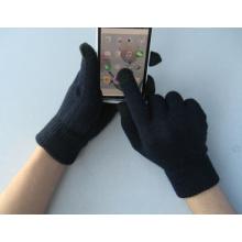 Luva preta do trabalho da tela de toque do dedo cinco do forro do poliéster 10g