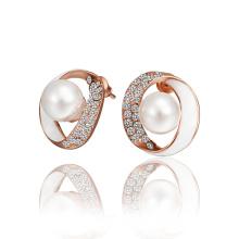 Zinc Alloy Pearl Fashion Women Earrings Imitation Pearl Women Jewelry Rose Gold Plated