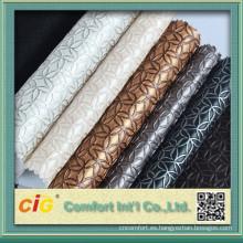 Tela de tapicería de cuero de imitación en relieve con color clásico