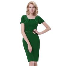Belle Poque Retro Vintage Short Sleeve Pleated Hips-Wrapped Dark Green Bodycon Pencil Dress BP000283-1