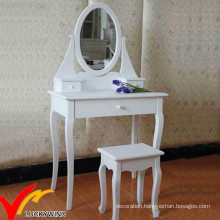 White Antique French Style Simple Wooden Vanity Dresser