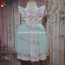 High Quality flower hand embroidery girl dresses