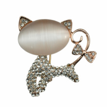 Fashion Lovely Opal plaqué or broche de chat