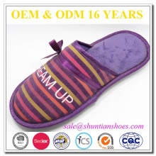 New fashion color stripe print suede indoor slipper with purple satin trimming