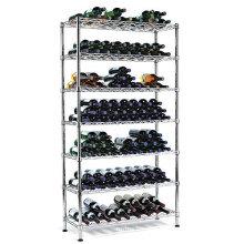 9 Bottle Adjustable Chrome Flat Metal Wine Rack (WR9035180C12C)