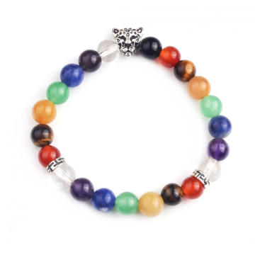 Hot Fashion 7 Chakra 8MM Stone Round Beaded​ Stretch Bracelet with Leapard Head